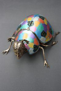 Métamorphose Vll  : bronze poli et coloré
